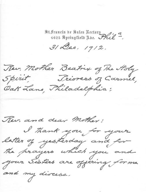 Dougherty to Rev. Mother Beatrix 31 Dec 1912