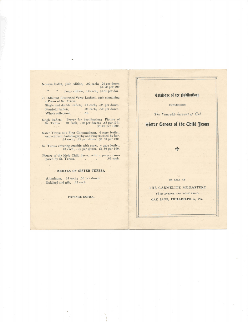 Catalogs of Therese's Publications, circa 1921 to 1923
